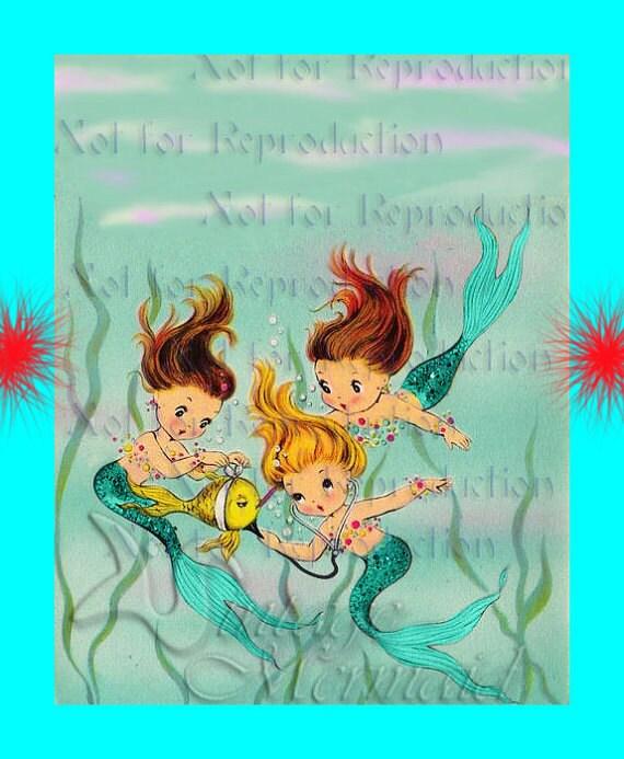 BABY MERMAIDS QUILTING Fabric Merbaby Fabric Blocks Cotton : mermaid quilt fabric - Adamdwight.com