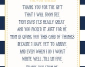 Nautical Baby Shower Thank You Card - You Print - 4x6 or 5x7