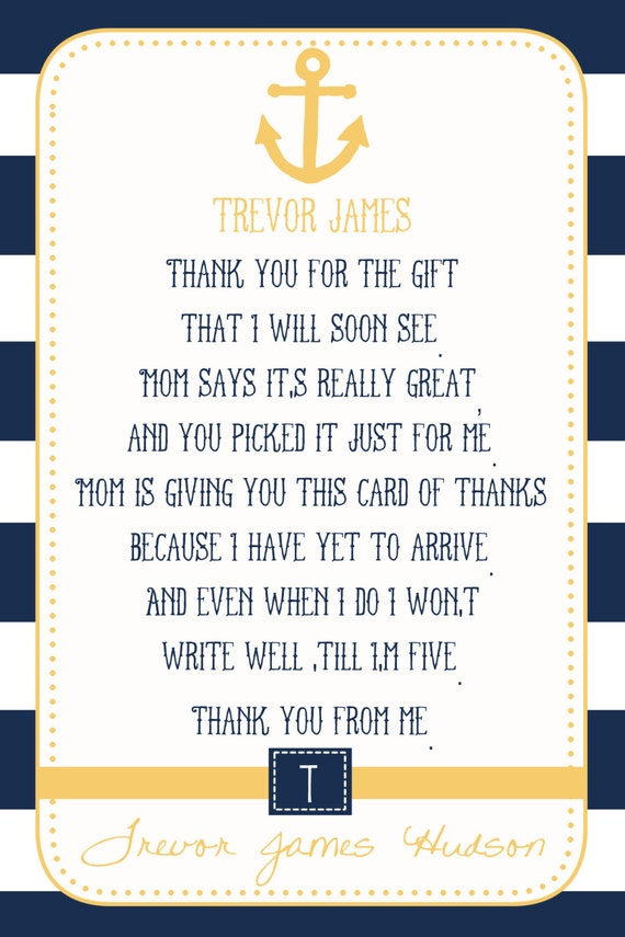 Nautical Baby Shower Thank Card Print