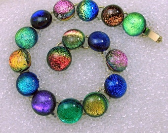 Sparkling Dichroic Glass Bracelet, Colorful Rainbow Bracelet, Handmade Fused Glass Link Bracelet