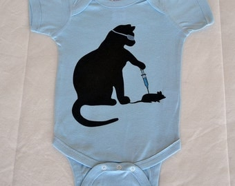 Cat Scientist - Mouse Injection - Onesie, Light Blue - 6mo, 12mo sizes