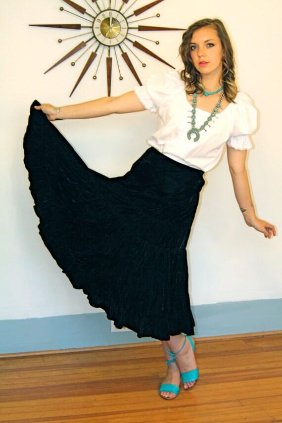 Vintage 1970s black silk velvet tiered full skirt indian hopi look