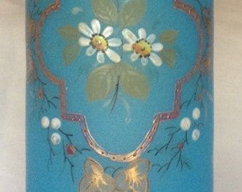 Blue Hand Painted Bristol Glass Vase 19th Century