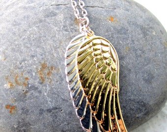 Angel Wings Necklace. Silver / Gold Mens Necklace. Gift For Him. Unisex Jewelry