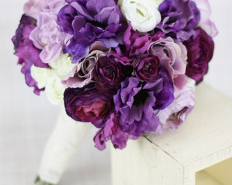 Silk Bride Bridesmaid Bouquet Roses Ranunculus Anemone Purple Country Wedding Lace (Item Number 130119)