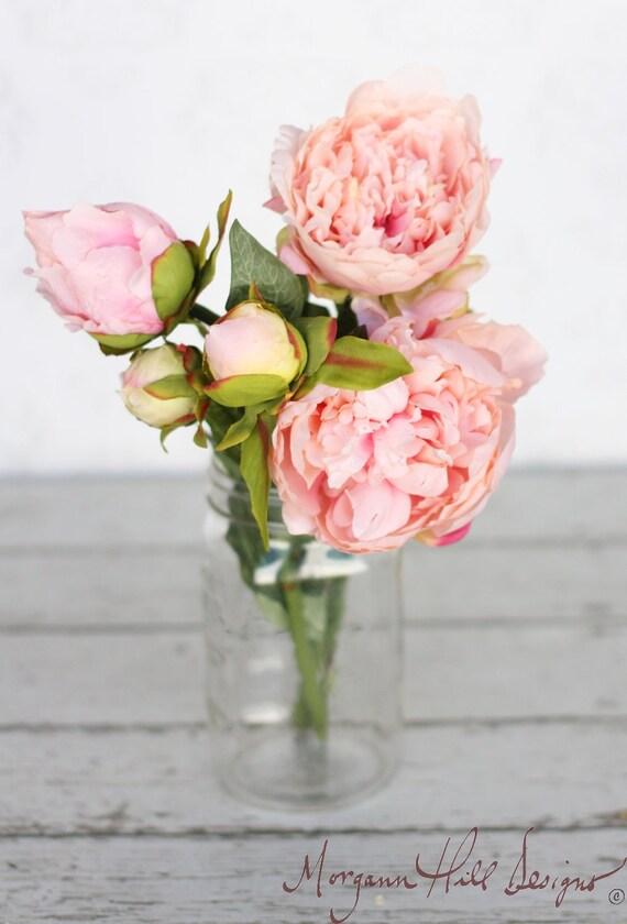 Homemade Wedding Bouquets Silk Flowers : Pink peony peonies silk flower diy wedding bouquet by