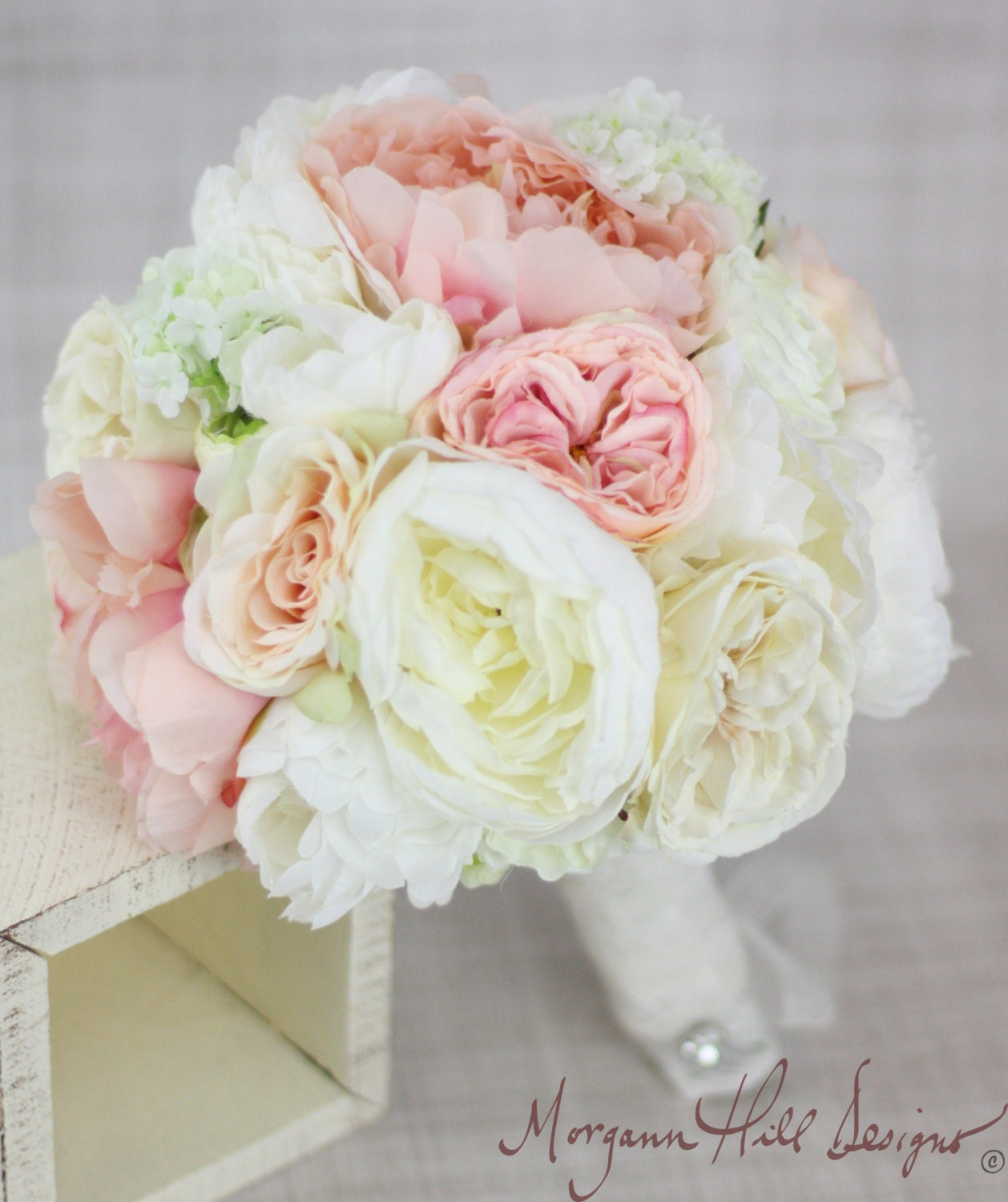 Silk Bride Bouquet Peony Peonies Roses Ranunculus By Braggingbags