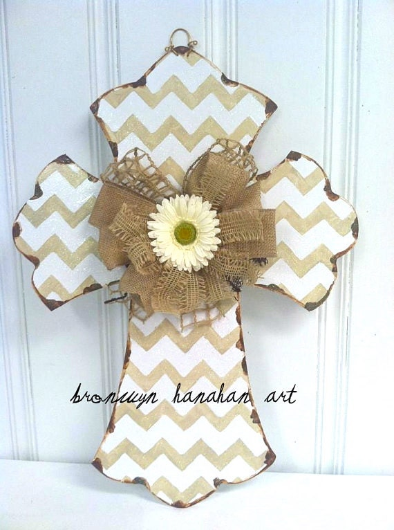 Taupe and White Chevron Cross Door Hanger - Bronwyn Hanahan Art