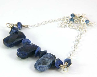Blue Sodalite Necklace, Sterling Silver, Sodalite Bar Necklace, Blue Gemstones, OOAK, Sodalite Gemstones