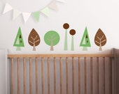 Woodland, Trees Wall Decal, Green Baby Nursery. Mini Trees Children Wall Decal