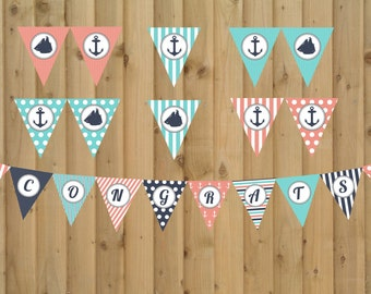 INSTANT DOWNLOAD:  Nautical Themed Baby Shower Banner - CONGRATS - Digital File. 2 Banners in 1
