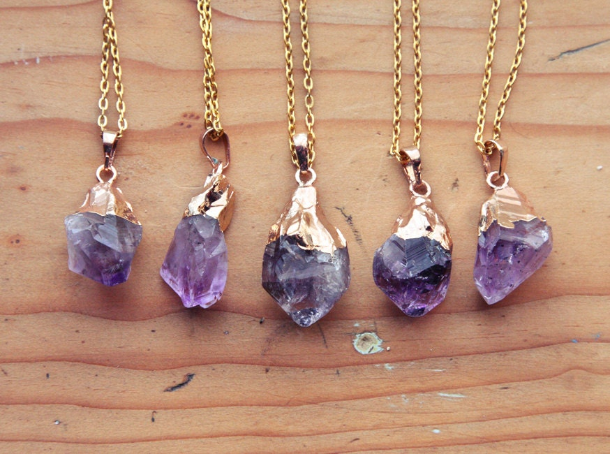Gold Dipped Raw Amethyst Crystal Drop Necklace Rough Clear