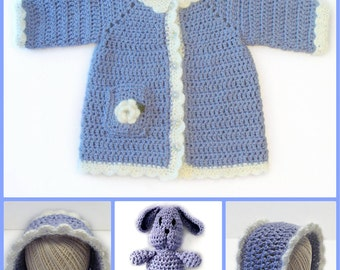 Toddler Coat and Bonnet Crochet Pattern with Matching Bunny Doll PDF 686