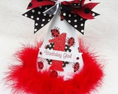 Little Ladybug Birthday Party Hat in white, red and black polka dot