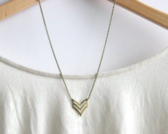 Chevron Geometric Necklace // Brass Modern Geometric Necklace // Chevron Charm Necklace // Layering Necklace