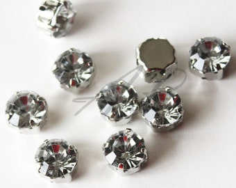 New Size.. 20 pcs of  4mm Faceted Round Sew On Crystal Clear Rhinestones W/Metal Prong..Lead Free, Nickel Free..Rhodium Plated Over Brass
