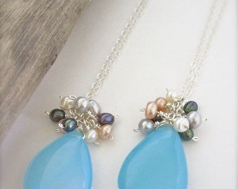 Mother Daughter matching necklaces - Bridesmaid necklace, blue necklace, bridal jewelry, matching necklaces, Hawaii beachy necklace