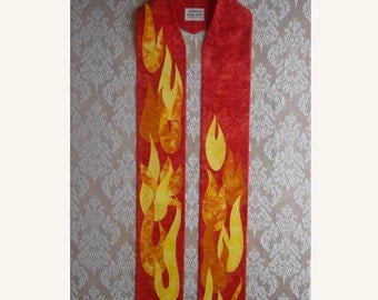 """Red Clergy Stole with """"Dancing"""" Flames and Dove -- Will ship February 4 - 28, 2016"""