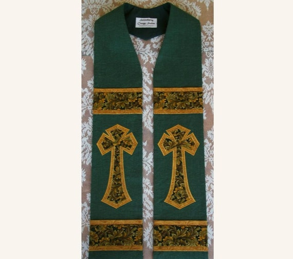 """REDUCED PRICE -- Discontinued Design -- 55"""" Green Clergy Stole For Ordinary Time -- Immediate Shipping"""