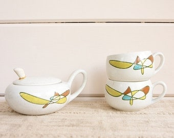CLEARANCE Vintage Mid Century Metlox Poppytrail.California Mobile.Cups and Sugar Bowl