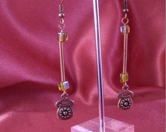 Copper Rotary Dial Telephone Dangle Earrings