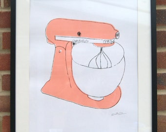 A2 Silk Screen Print of Classic Food Mixer in Pink