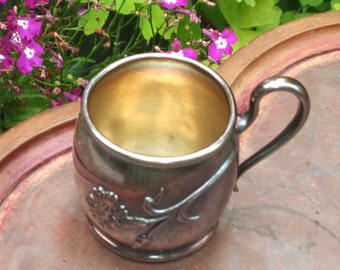 Silver Childs Mug, small floral design milk Cup