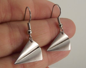 Matte Silver Plane Origami Earrings, Silver Earrings, Unique Gift, Gift for Her, Minimalist Jewelry, Gift Under 25, Wanderlust