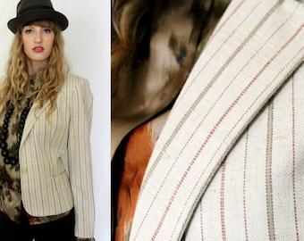 1980s Striped Linen Blazer Jacket - Celadon Rust Ticking - Vintage - Career Wear - Women Medium