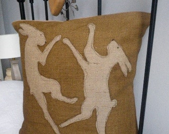 hand printed hessian natural brown  boxing hare cushion cover