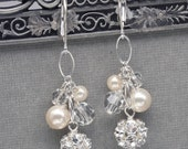 Pearl and Rhinestone Cluster Wedding Earrings, Bridal Dangle Earrings, Sterling Silver and Ivory or White Pearls