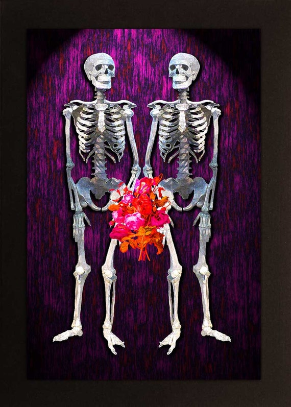 Skeletons with Bouquet Blank Greeting Cards - Set of 5