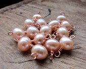 Peach Pearl Charms set - Sterling Silver / Copper Wrapped Pearl Dangles for Necklace, Pendant, Earrings - Add On - 3 pieces