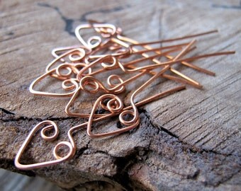 22 gauge Heart Head Pins - Artisan Copper Wrapped Headpins - 1.5 inch arrow shaped head pins 10 pieces set - Handmade Head Pins - Eye Pins