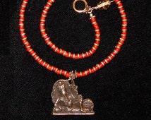 Ganesha Pendant Bronze Orange French Whitehearts Beaded Necklace