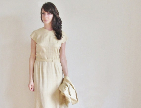 1960 gold fitted dress . matching blazer and belt . mad men secretary .large .sale