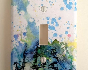 Ship Nautical Decorative Light Switch Cover Plate Great Baby Nursery, Children Kids Decor Art, And For Any Adventurer