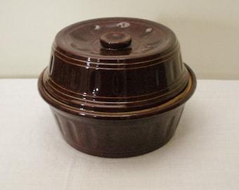 Vintage Dark Brown Stoneware Casserole with Lid