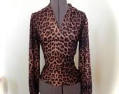 Vintage 60s Leopard Top Size Med Lg -on sale