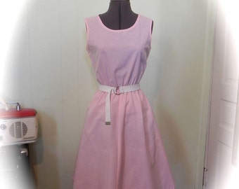 Vintage Dress 50s Pink And White Striped Dress with Belt and Swing Skirt Med - on sale