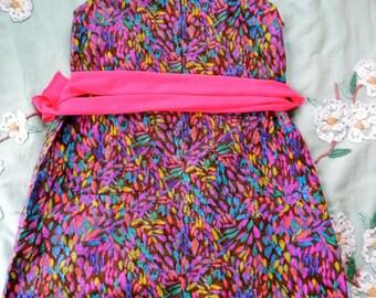 Vintage 1960s Dress - Fantastic 60s Mini Dress Psychedelic colours M L - on sale