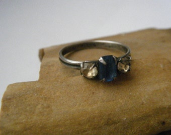 Blue and Clear Rhinestone Sterling Silver Ring Adjustable