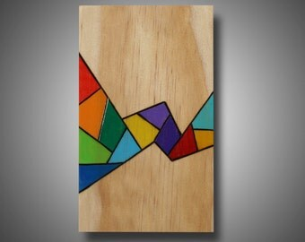 "Small Abstract Art Panel, Art for Small Spaces, Triangles, Woodburned and Colored with Prismacolor Pencils ""Small Wonder"" 3.5"" x 6"""