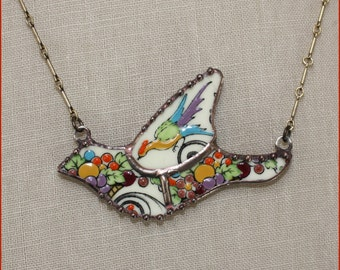 Staffordshire Renaissance Mosaic Bird II Broken China Jewelry Pendant Necklace by robinsrelics