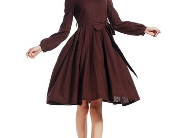 Brown dress, linen dress, midi dress, tea length dress, Fit and flare dress, long sleeve dress, spring dress,pleated dress, custom dress 514