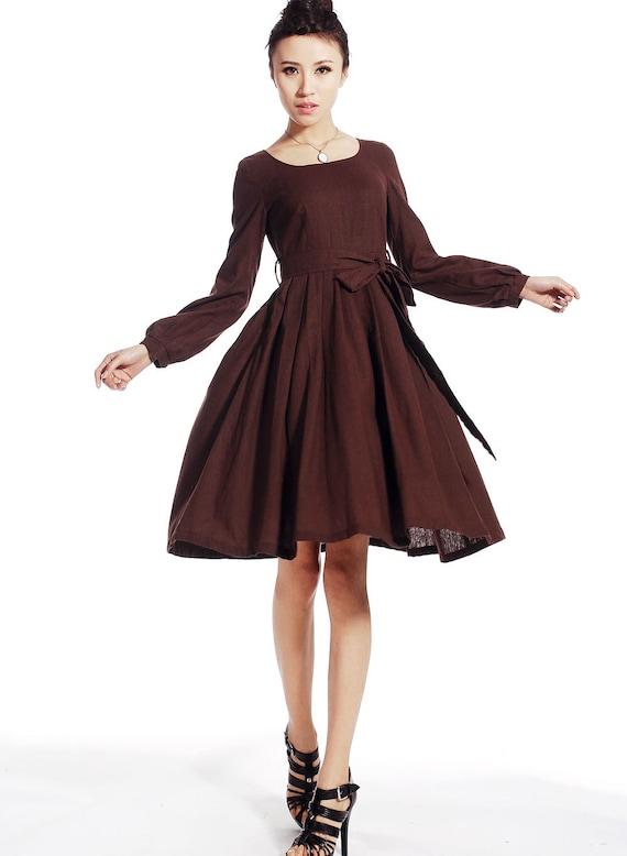 Brown linen midi dress (514)