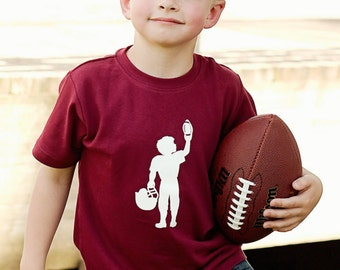 Football Player Short Sleeved Nostalgic Graphic Tee in Maroon with White