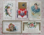 5 Beautiful Valentine Postcards c1910 Edwardian