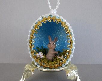 Brown Easter Bunny Egg Ornament-Blue