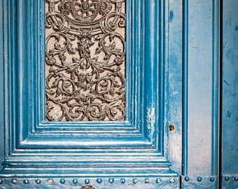 Paris Door Photography, Paris Blue Door Photograph, Ornate Iron, Paris Door, Cottage Chic Paris Decor, France Fine Art Print - French Blue